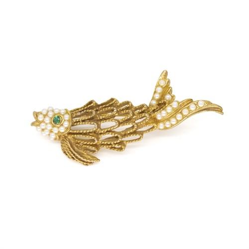 Винтажная брошь – золотая рыбка