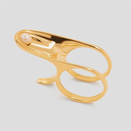 Позолоченное кольцо с жемчугом «Gravity» Fjord