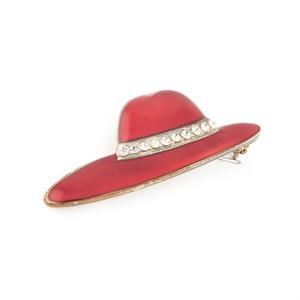 Винтажная брошь «Алая шляпка»