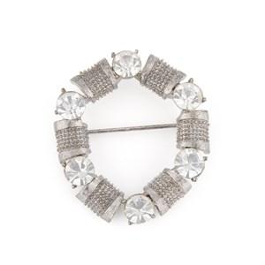 Винтажная брошь-пряжка с кристаллами